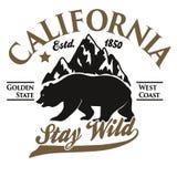 Kalifornia typografii druk, grizzly niedźwiedzia koszulka wektor royalty ilustracja
