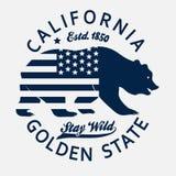 Kalifornia typografii druk, grizzly niedźwiedzia koszulka wektor ilustracja wektor