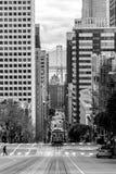 Kalifornia Uliczny wagon kolei linowej czarny i biały fotografia royalty free
