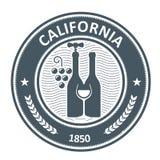 Kalifornia winnicy emblemat - win bottels Zdjęcie Stock