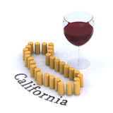 Kalifornien översikt med kork och exponeringsglas av rött vin Arkivbild