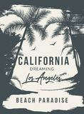 Kalifornien bakgrund med gömma i handflatan Vektorbakgrundsstrand Tropisk banerdesign för sommar Illustration för paradisaffischm vektor illustrationer