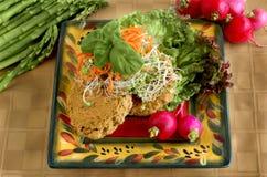 Kalifornien-Biokost - Bohnen-Kuchen und Sprösslinge Stockbilder