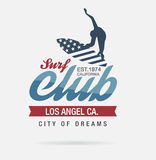Kalifornien-Brandungstypographie, T-Shirt Grafiken, Logoclub Stockfotos