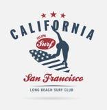 Kalifornien-Brandungstypographie, T-Shirt Grafiken, Logoclub Stockfotografie