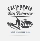 Kalifornien-Brandungstypographie, T-Shirt Grafiken, Logoclub Lizenzfreies Stockfoto