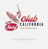 Kalifornien-Brandungstypographie, T-Shirt Grafiken, Logoclub Lizenzfreie Stockfotos
