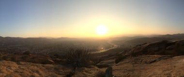 Kalifornien dalsolnedgång Arkivfoto
