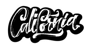Kalifornien etikett Modern kalligrafihandbokstäver för serigrafitryck Arkivfoto