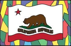 Kalifornien-Flagge auf Buntglas Stockfoto