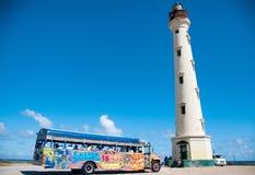 Kalifornien fyrgränsmärke på karibiska Aruba Fotografering för Bildbyråer