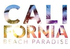 Kalifornien-Hintergrund mit Palme Vektorhintergrundstrand Tropisches Fahnendesign des Sommers Paradiesplakat-Schablonenillustrati stock abbildung