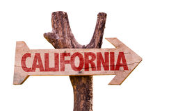 Kalifornien-Holzschild lokalisiert auf weißem Hintergrund Lizenzfreies Stockfoto