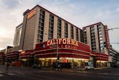 Kalifornien hotell- och kasinoLas Vegas skymning Arkivfoto