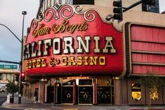 Kalifornien hotell- och kasinoLas Vegas tecken Arkivfoto