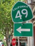 Kalifornien huvudväg 49, historiskt guld- land Royaltyfri Fotografi