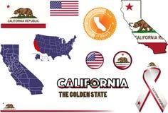 Kalifornien-Ikonen-Satz Stockfotos