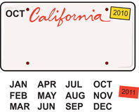 Kalifornien-Kfz-Kennzeichen 2010 Stockbild