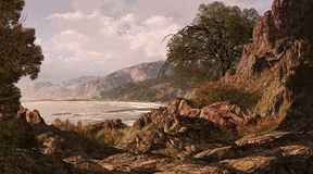 Kalifornien kust royaltyfri illustrationer
