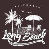 Kalifornien Long Beach typografi för detskjorta trycket, vektorillustration Royaltyfri Foto