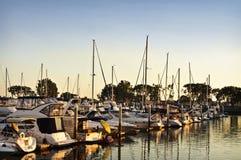 Kalifornien marinasolnedgång Arkivfoto