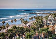 Kalifornien oceansideshoreline Arkivfoto