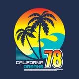 Kalifornien på nätterna - vektorillustrationbegreppet i grafisk stil för tappning för t-skjorta och annat skrivar ut produktion Royaltyfri Foto