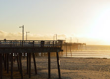 Kalifornien Pier Sunset Arkivfoto