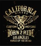 Kalifornien-Radfahrergewohnheitsmotorrad vektor abbildung
