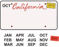 Kalifornien registreringsskylt 2010 royaltyfri illustrationer