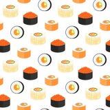 Kalifornien-Rollen eingewickelt im nori Philadelphia mit Kaviar des fliegenden Fisches Nahtloses Muster der japanischen tradition Stockfotografie