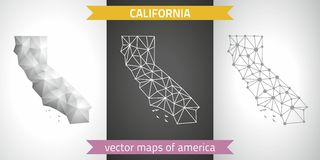 Kalifornien-Satz Grau und polygonale Karten des Silbermosaiks 3d Stockfotografie