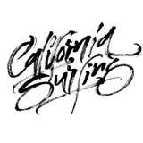 Kalifornien surfa Modern kalligrafihandbokstäver för serigrafitryck Royaltyfri Bild