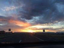 Kalifornien sydlig solnedgång Arkivfoton