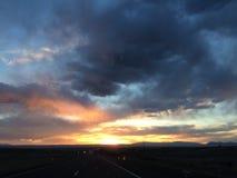 Kalifornien sydlig solnedgång Arkivbilder