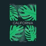 Kalifornien-T-Shirt Typografie mit tropischen Blättern Ursprüngliches Kleiderdesign mit Palmblatt, Sommerkleidung drucken Vektor stock abbildung