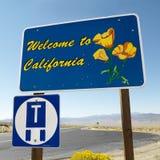 Kalifornien tecken att välkomna arkivfoton