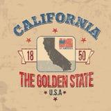 Kalifornien-Typografie für T-Shirt Druck Lizenzfreies Stockbild