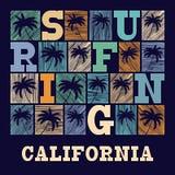 Kalifornien-Typografie-Grafiken T-Shirt Mode Design Lizenzfreie Stockfotos