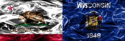 Kalifornien vs Wisconsin färgrik begreppsrök sjunker den förlade sidan arkivfoton