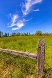 Kalifornien-Wiesenranch an einem Frühlingstag des blauen Himmels Stockbild