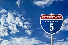Kalifornien - zwischenstaatliches Verkehrsschild Stockbilder