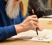 Kaligrafia mistrzowski rysunkowy chiński hieroglif Obraz Stock