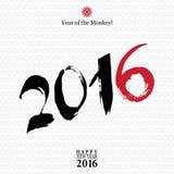 Kaligrafia 2016 Szczęśliwych nowego roku znaka kart z małpą o Obraz Royalty Free