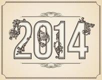 Kaligraficzna liczba 2014 Obraz Stock