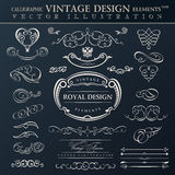 kaligraficznego elementów ornamentu ustalony rocznik Wektor obramia orname Obraz Royalty Free