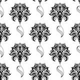 Kaligraficznego rocznika kwiecisty bezszwowy wzór ilustracji