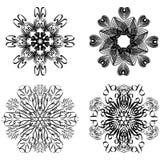 Kaligraficzni kółkowi geometryczni wzory, projektów elementy w czarny i biały, symmetric koronka wzorach, ilustracja wektor
