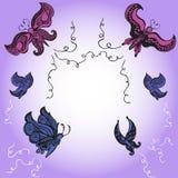 Kaligraficzni motyle abstrakcjonistyczny motyli kwiecisty Zdjęcia Stock