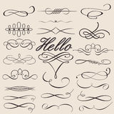 kaligraficzni projekta elementy ustawiający wektor Zdjęcia Royalty Free